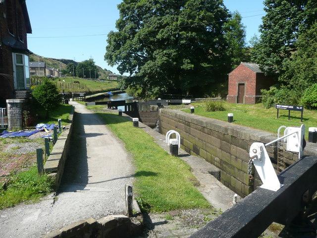 Lock on the Rochdale Canal at Chelburn Bridge, Summit