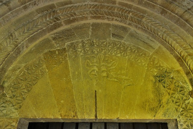 Lower Swell, St. Mary's Church: Norman south doorway with Tree of Life tympanum