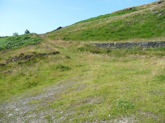 Track up to where Solomon Cutting crosses a ridge, Chelburn Moor
