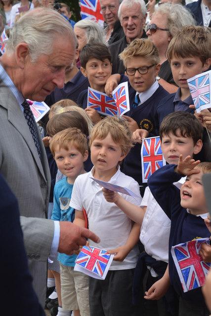 Cheriton Bishop : Prince Charles & Schoolchildren