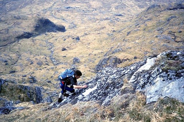 Climbing out of Coire Torr an Asgail