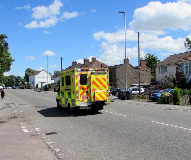 Emergency ambulance, Station Road, Yate