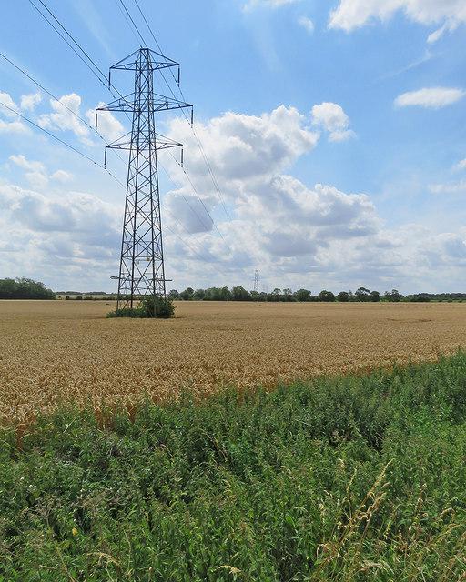 A pylon near Honey Hill