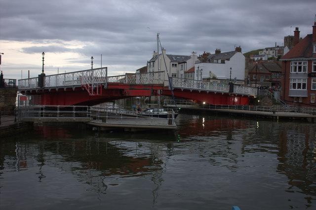 Whitby. Swing bridge opening