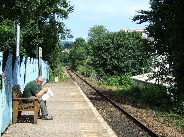 Waiting for a train, Falmouth Town Railway Station