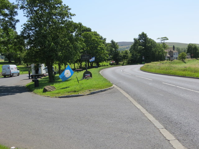 The A56 from Skipton to Colne entering Earby