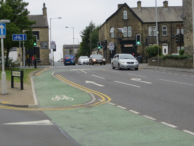 The junction of Gain Lane, Intake Road and Fagley Road in Bradford
