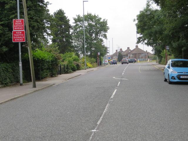 Woodhall Lane looking towards the A647 at Thornbury Barracks