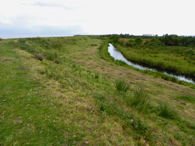 Drainage ditch behind the sea wall