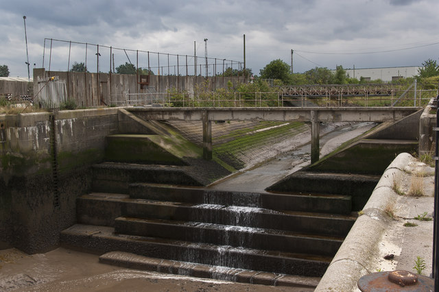 Formerly the lock entrance for Bromborough Dock