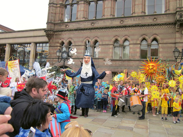 St Werburgh outside Chester Town Hall