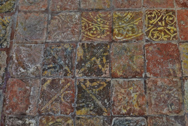 Hailes Old Church: Altar with medieval encaustic tile surround 3