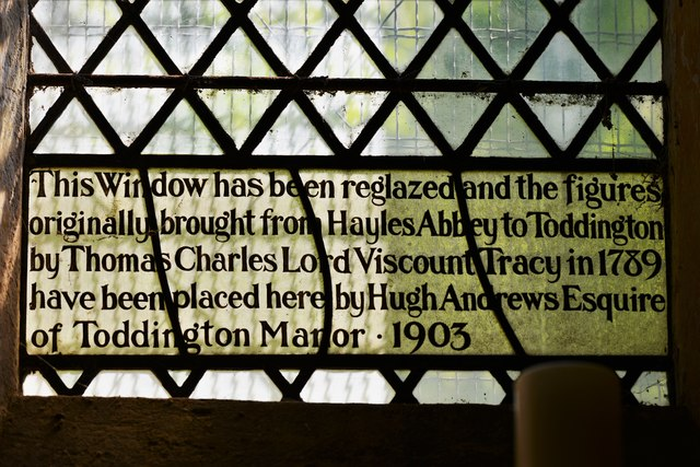 Hailes Old Church: East window with medieval glass- information panel