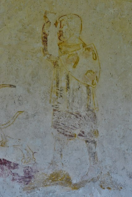 Hailes Old Church: Early c14th wall painting, huntsman and three hounds chasing hare 3