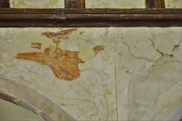 Hailes Old Church: Early c14th wall painting, medieval mythical beastie 2