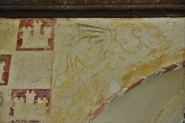 Hailes Old Church: Early c14th wall painting, medieval mythical beastie 4