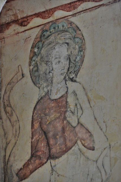 Hailes Old Church: Early c14th wall painting, St. Catherine of Alexandria 2