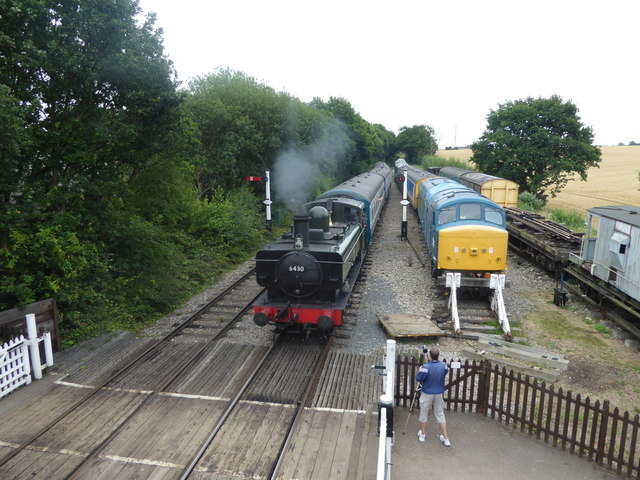 Train arriving at North Weald station