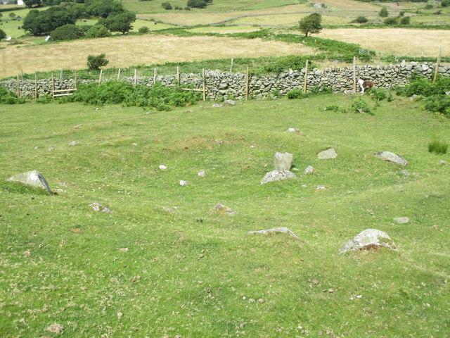 Hut circle remains on Moel Faban, Rachub