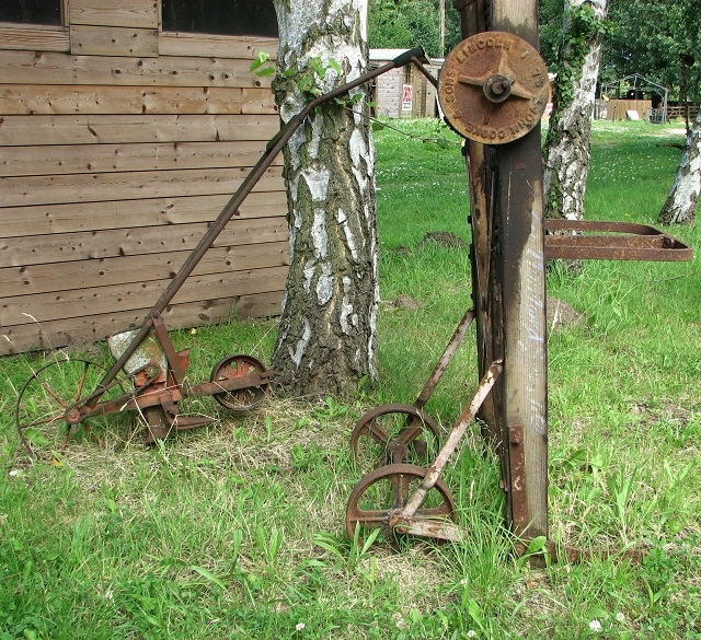 Old farm implements at Myhills Plant Nursery