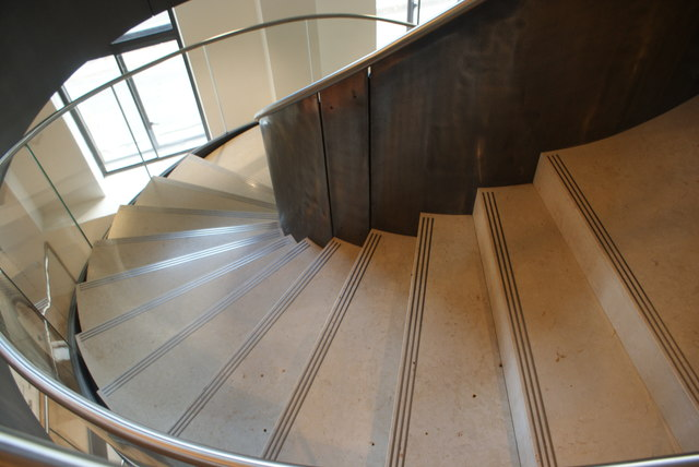 View down the spiral staircase in the Wellcome Collection