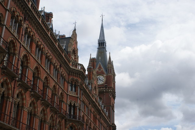 Looking up at the St Pancras Clock Tower from Euston Road