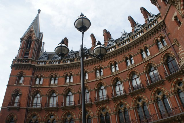 Looking up at St. Pancras Station from outside the St. Pancras Renaissance Hotel