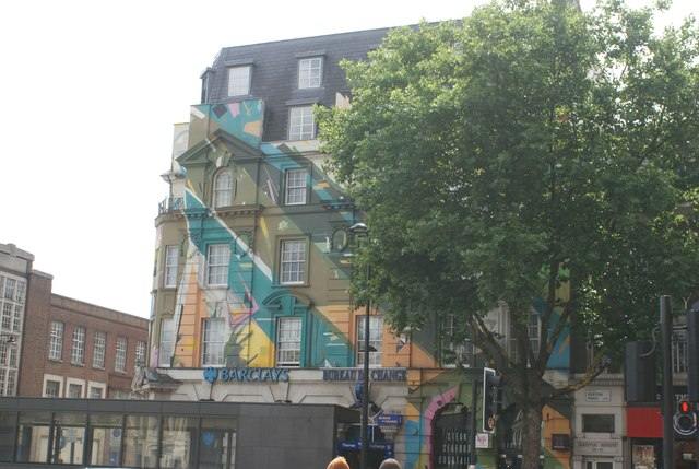 View of the brightly-coloured Barclays bank on Euston Road