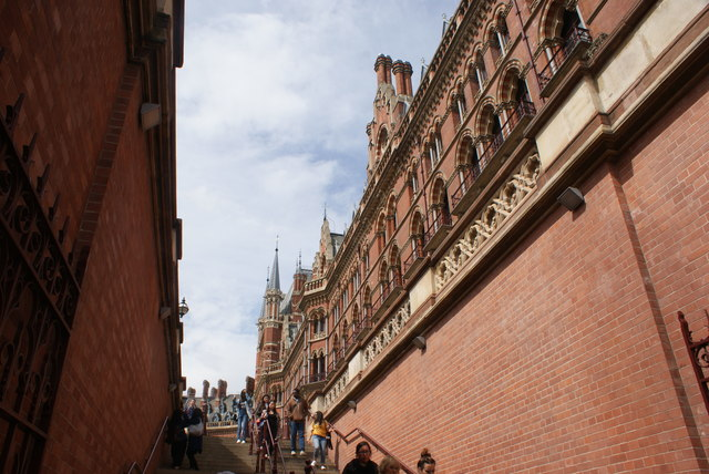 View up the steps to St. Pancras Station from Pancras Road
