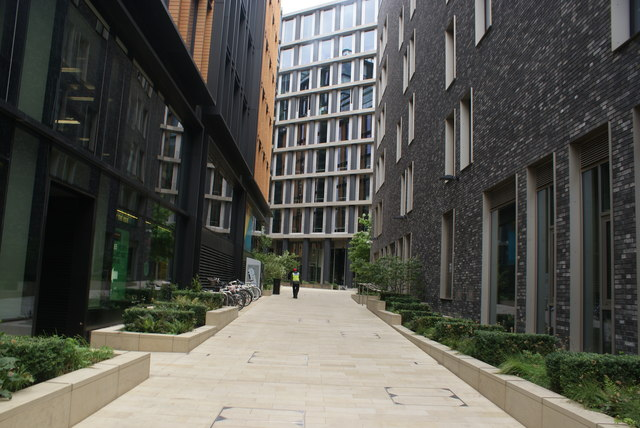 View up one of the alleys into Pancras Square from Pancras Road