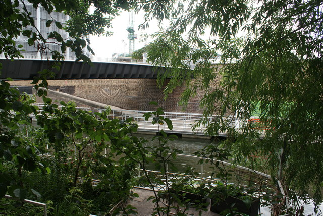 View of Somers Town Bridge and the Regent's Canal from Camley Street Nature Park