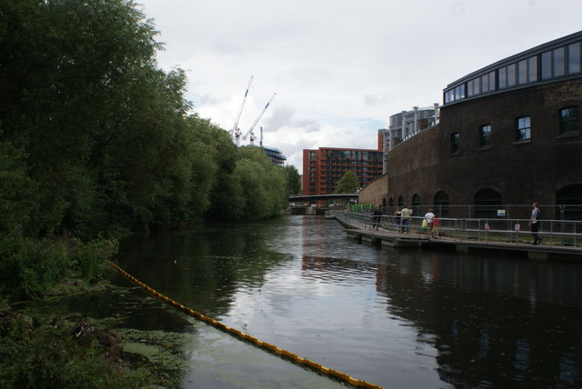 View along the Regent's Canal towards Somers Town Bridge from Camley Street Nature Park