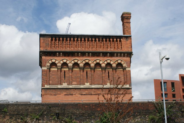 View of St. Pancras Water Tower from Camley Street