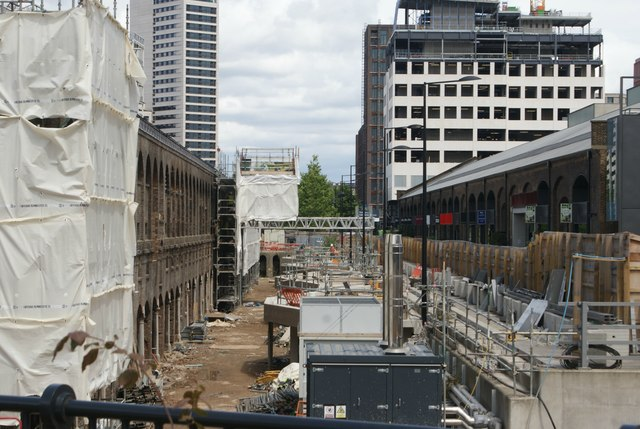 View of the Coal Drop Yard building site from Somers Town Bridge