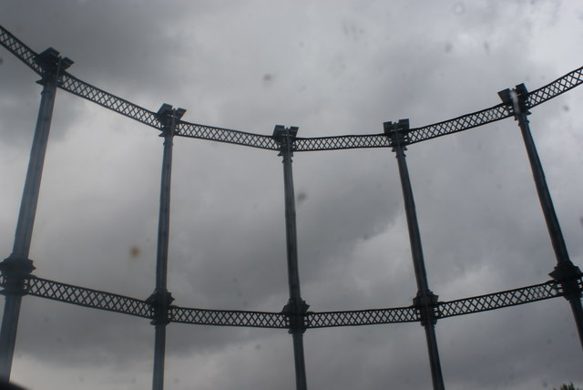 View of the gasholder frame reflected in one of the mirrors in Gasholder Park