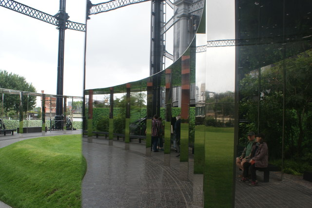 View of a reflection in one of the mirrors in Gasholder Park