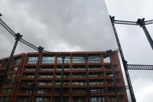 View of a reflection of Tapestry Apartments in one of the mirrors in Gasholder Park