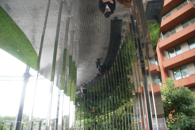 View of the reflection of mirrors in the ceiling in Gasholder Park
