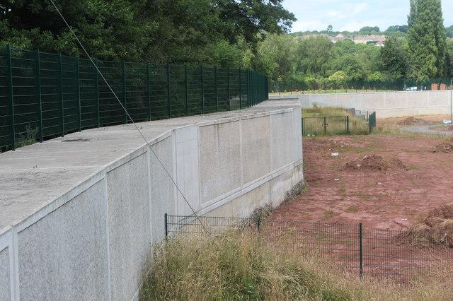 Flood defences alongside River Ebbw