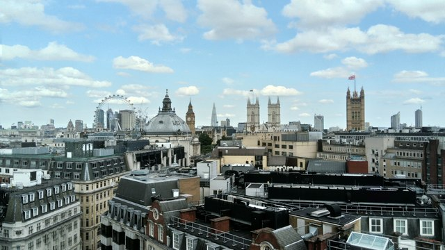 View of the London Eye, Westminster Abbey, Houses of Parliament and Shard from 55 Broadway