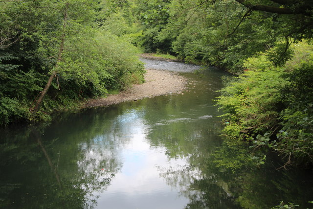 River Ebbw upstream from footbridge