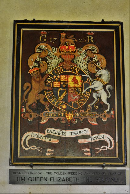 Ebrington, St. Eadburgha's Church: Royal Coat of Arms with unusual Greek script