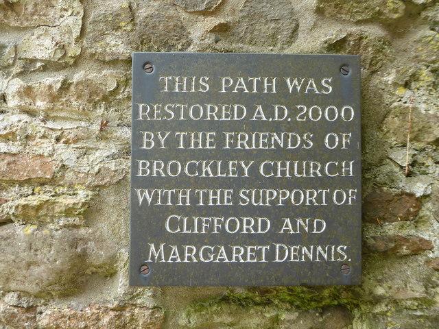 St Nicholas, Brockley: restoration plaque