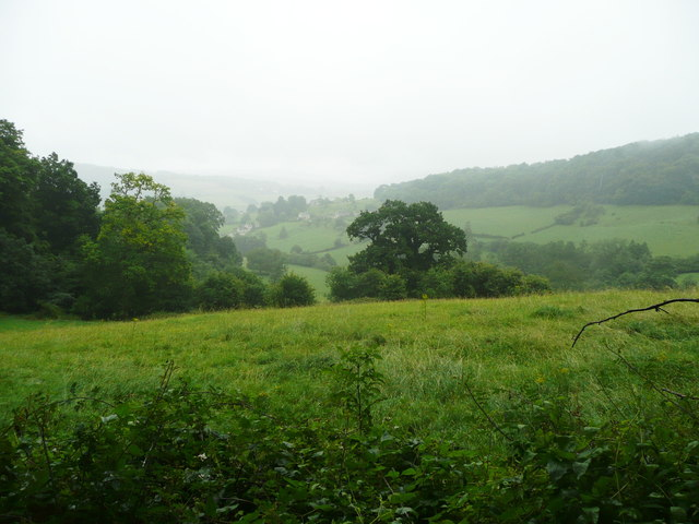 View from Pinchcombe Wood in the rain