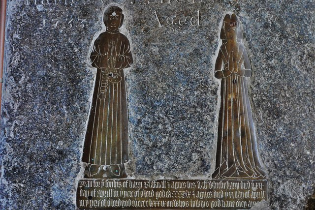 Wing, All Saints Church: c15th brass on a later ledger slab