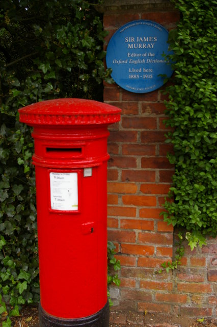 Banbury Road, Oxford: blue plaque and pillar box outside former home of Sir James Murray