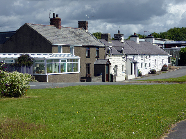 Cottages beside the A497 road