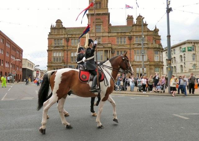 Horses on parade.