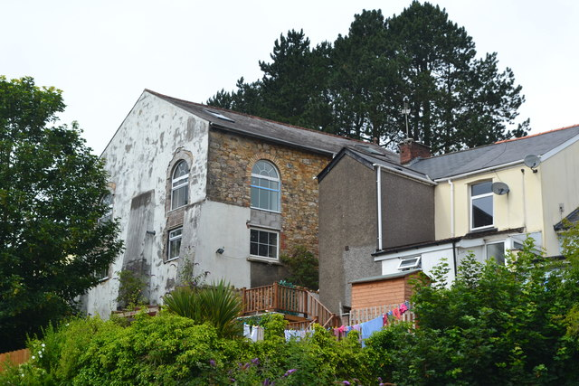 Rear of houses and former chapel in High Street, Abersychan