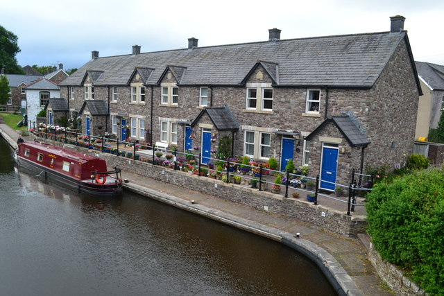 Houses overlooking the canal basin in Brecon